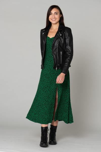 Perfecto en cuir noir femme              title=