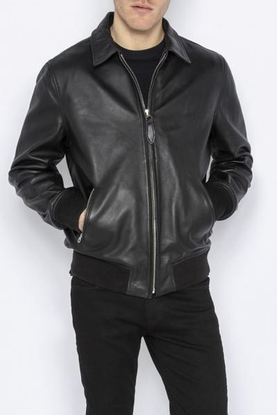 Blouson aviateur en cuir noir homme              title=