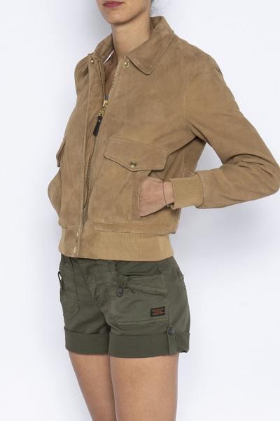 Blouson aviateur femme en cuir velours              title=
