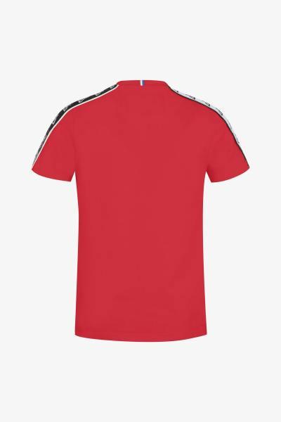 T-shirt rouge avec liseré blanc et noir