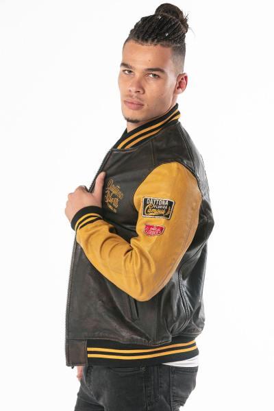 Teddy américain noir et jaune en cuir de vachette              title=