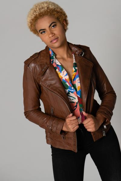 Blouson Perfecto cuir marron              title=
