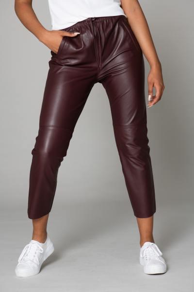 Pantalon jogpant en cuir véritable bordeaux