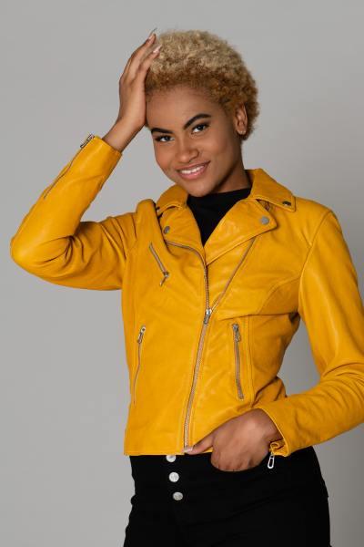 Perfecto jaune cuir d'agneau              title=