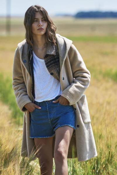 Manteau réversible en laine et polyester