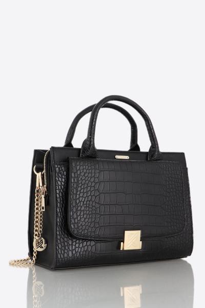 Handtasche mit schwarzen Griffen mit Krokodil-Effekt              title=
