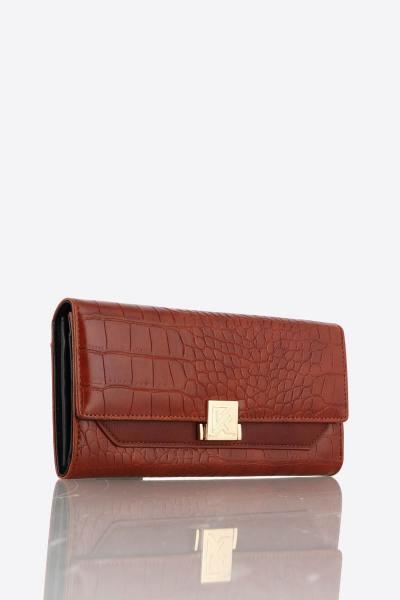 Pochette portefeuille en simili cuir croco              title=
