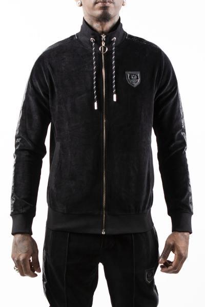 Schwarze Sportbekleidungsjacke mit Streifen mit Python-Effekt              title=