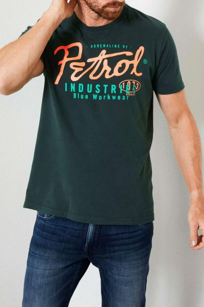Tee-shirt col rond vert bouteille              title=