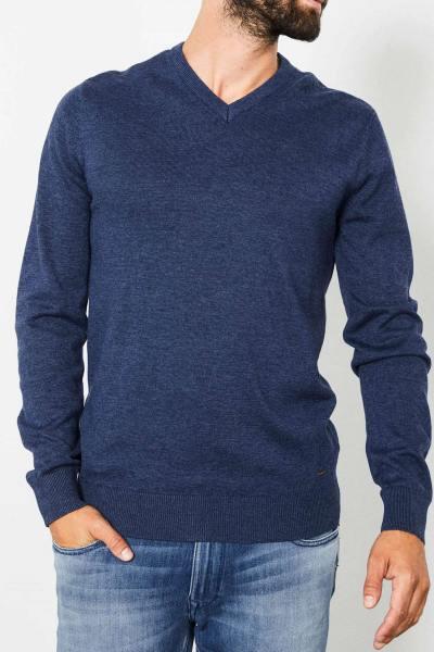 Pull col V en tricot bleu              title=