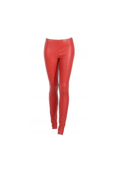 Rote Leder-Slim-Fit-Hose              title=