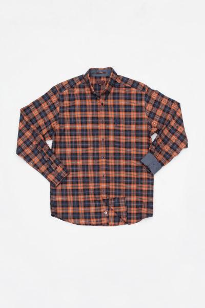 Chemise à carreaux orange homme