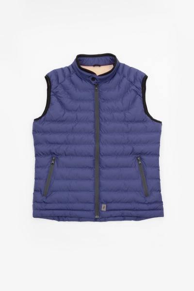 Ärmellose blaue Jacke