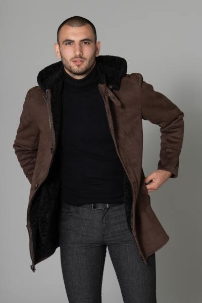 Manteau effet mouton retourné en polyester