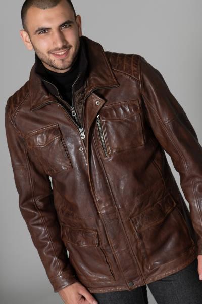 Manteau en cuir avec parmenture amovible              title=