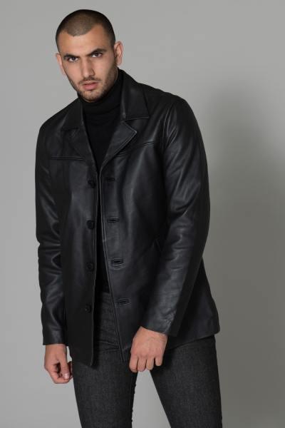Veste en cuir épais noire              title=