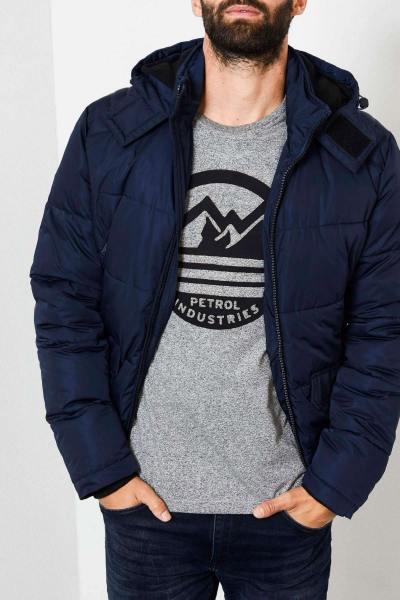 Doudoune à capuche bleue marine              title=