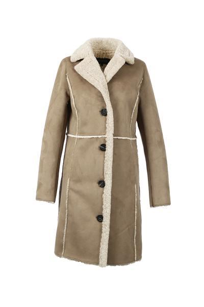 Manteau femme imitation peau lainée              title=