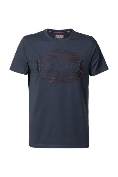 Graublaues T-Shirt mit Brustlogo              title=
