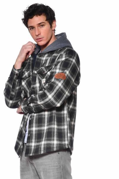 Chemise à carreaux avec capuche              title=