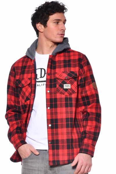 Blouson-chemise à carreaux rouge              title=