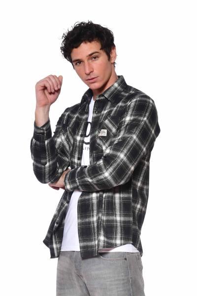 Chemise à carreaux polyester et coton               title=