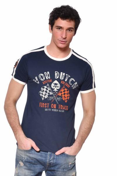 Tee-shirt motard bleu marine              title=