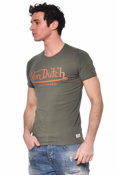 Khakifarbenes Rundhals-T-Shirt