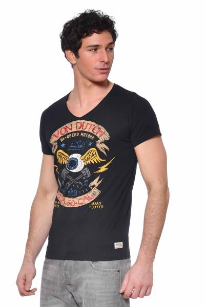 Tshirt col V noir              title=