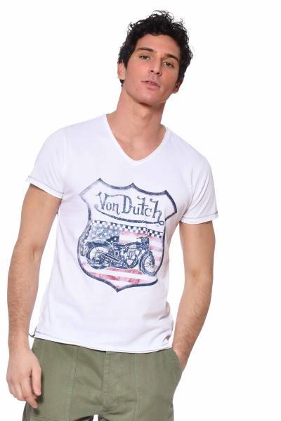 T-shirt USA Motors blanc col V              title=