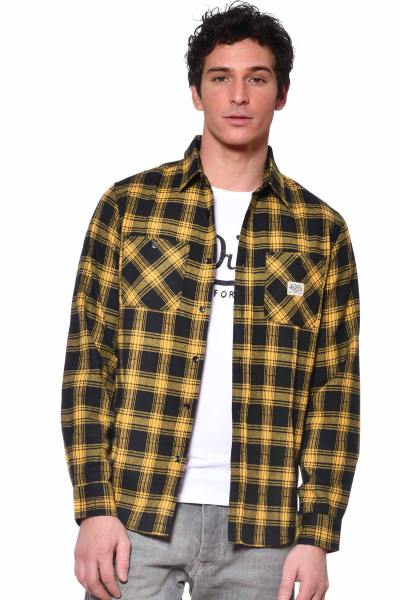 Chemise à carreaux jaune homme