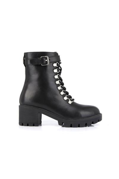 Boots rangers noir en cuir véritable              title=