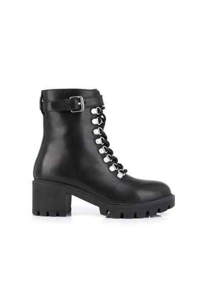 Boots rangers noir en cuir véritable