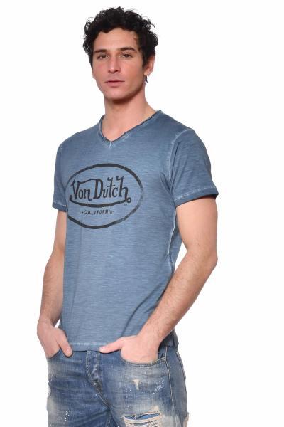 T-shirt bleu effet usé