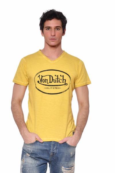 T-shirt jaune chiné col V              title=
