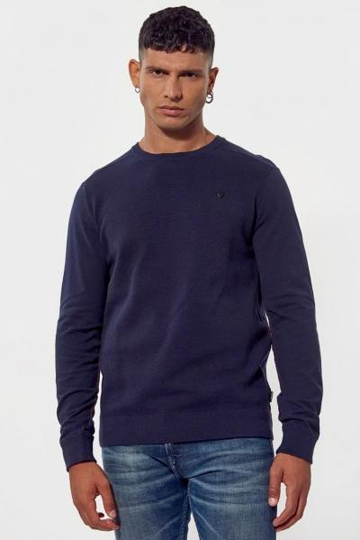 Pull en maille marine col rond               title=