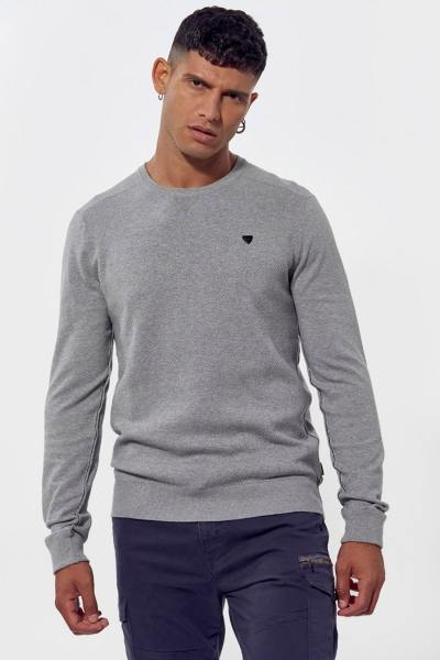 Pull homme gris à col rond