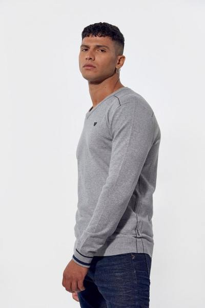 Pull gris chiné homme              title=