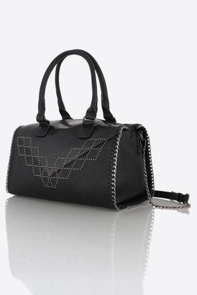 Damentasche mit Krokodil-Effekt, Henkeln und Schulterriemen              title=