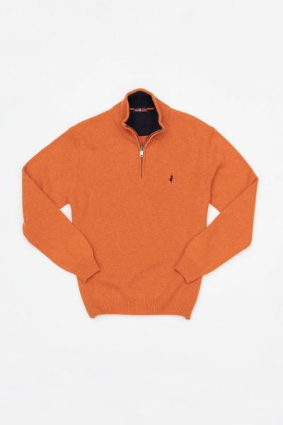 Orangefarbener Wollpullover für Männer