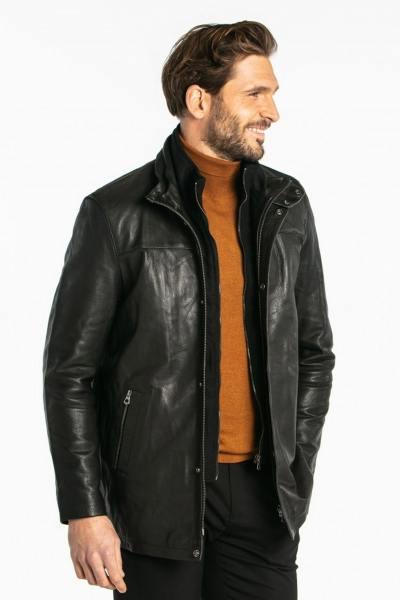 Veste homme en cuir noir              title=