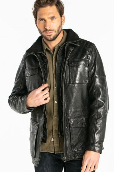 Veste homme en cuir d'agneau noir              title=