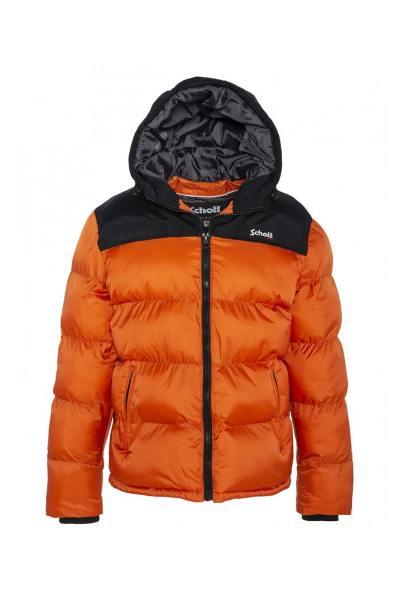 Doudoune orange et noire en nylon              title=