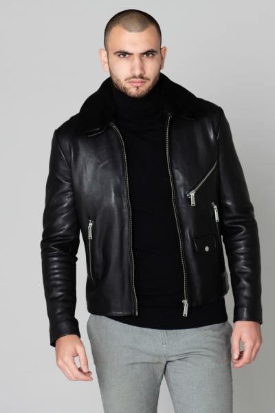 Elegante schwarze Lederjacke