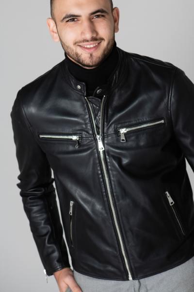 Blouson esprit motard en cuir noir