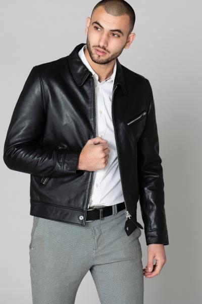 Blouson col chemise en cuir noir              title=