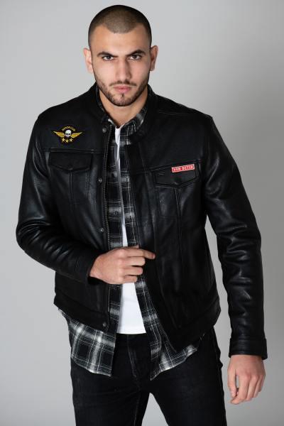 Blouson biker en cuir avec patchs              title=