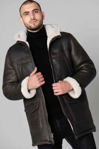 Manteau en mouton retourné marron