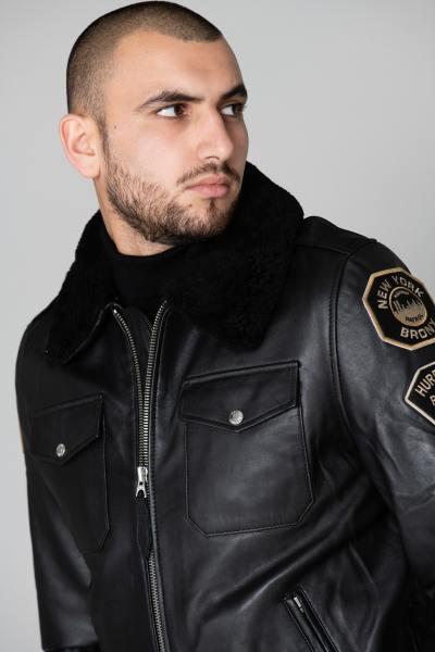 Blouson en cuir Police US noir              title=