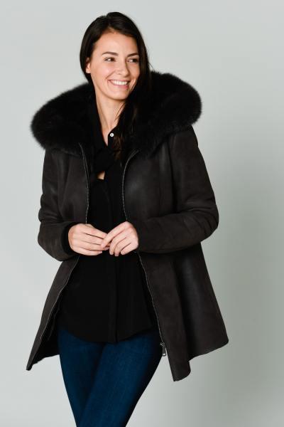 Manteau peau lainée marron              title=